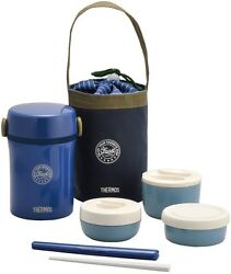 Thermos Heat Insulated Lunch Box Navy Jbc-801 Bento From Japan New