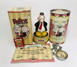 Popeye And Wimpy Pocket Watch And Figurine - 1997 Fossil Limited Edition Nib Htf