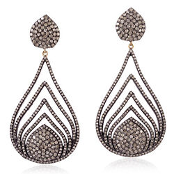 Natural Diamond Gold 925 Silver Pear Shape Dangle Earrings Antique Jewelry