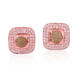 Latest Fashion 18k Solid Rose Gold 4.44ct Pave Diamond Stud Earrings Jewelry
