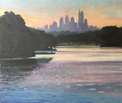 Original Large Oil Painting Cooper River Park 40andrdquox36andrdquo Collingswood New Jersey