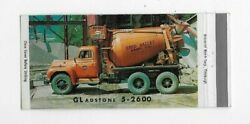 Matchbook Cover Ohio Valley Sand Co New Martinsville Wv Cement Truck 5367