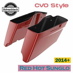 Red Hot Sunglo Cvo Style Extended Bags Stretched Saddlebag For Harley 2014+