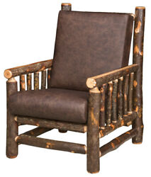 Amish Rustic Hickory Accent Chair Leather Upholstered Cabin Lodge Furniture