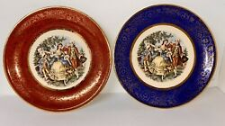 Two Royal China Dancing Colonial Couple Decorative Plate, Warranted 22-k-gold