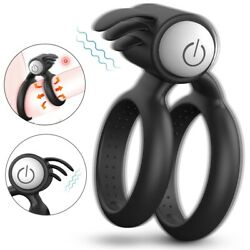 US Vibrating Male Delay Ring Enhancer Stronger Toy For Men Couples Use Lubricant