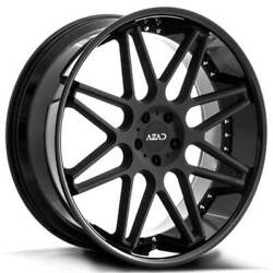 4ea 24 Staggered Azad Wheels Az77 Matte Black Center With Gloss Blacks43