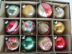 12 Vintage Christmas Tree Glass Shiny Brite Ornaments Mica Hp Indented 3 1/2