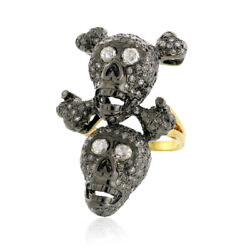 18k Gold 2.58ct Pave Diamond Sterling Silver Double Skull Ring Halloween Jewelry