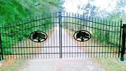 Wrought Iron Style Driveway Gate 16' Wd Inc Post Pkg Residential Yard Security