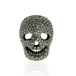 4.31ct Studded Diamond 925 Silver Skull Spacer Finding Halloween Jewelry