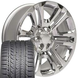 Ck158 Chrome 22x9 In Wheel And Goodyear Tire Set 4 Fits Gmc Chevy Cadillac