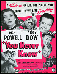 You Never Know 1951 Dick Powell Cave Of Outlaws Macdonald Carey Trade Advert