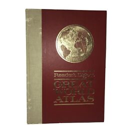 1963 1st Edition Readerand039s Digest Great World Atlas Hardcover Coffee Table Book