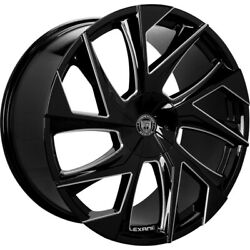 4ea 20 Staggered Lexani Wheels Ghost Black With Machined Accents Rims S41