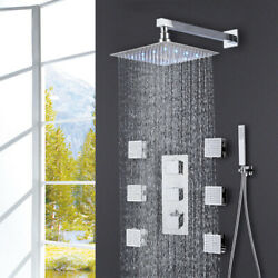Chrome Led Rainfall Shower Faucet Thermostatic Valve Spa Massage Jets W/handheld