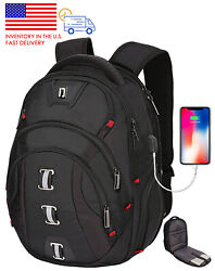 Backpack for Men 40L Extra Large USB amp; RFID Fit 15.6 in Laptop School Bags Black $30.84