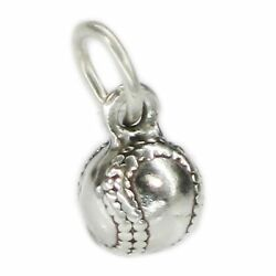 Baseball Small Sterling Silver Charm .925 X 1 Rounders Balls Charms.