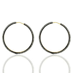 14k Gold 7.37ct Pave Diamond Hoop Earrings Sterling Silver Jewelry For Her