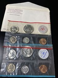 1964 Silver Unc Us Mint Set With Both P And D 10 Coins In White Mint Envelope