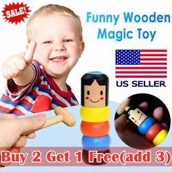 Unbreakable Wooden Magic Toy Wooden Stubborn Man Toy Kids Funny Xmas Gifts USA