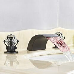 Deck Mount Double Handles 3 Holes Waterfall Led Widespread Bathroom Sink Faucet