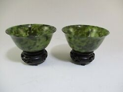 Asian Spinach Jade Hand Carved Rice Bowls On Wooden Stands