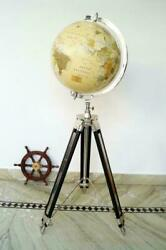 Antique World Globe 18 Map Atlas On Adjustable Tripod Stand With Free 12 Wheel