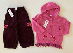 Nwt Gymboree Peruvian Doll 2t Pink Embroidered Tassel Sweater And Corduroy Pants