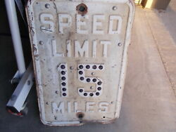 Vintage Speed Limit 15 Miles Street Road Sign Glass Marble Cat Eyes Reflector