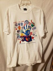 Vintage Oklahoma City 1995 Bombing Never Forget Blue Hand Single Stitch