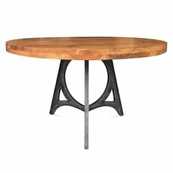 Art Deco Industrial Dining Table - Iron Base - 48 Round Solid Wood Top