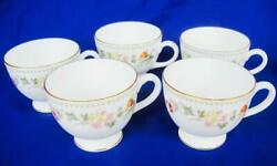 Wedgwood Mirabelle 5 Coffee Tea Cups Only Gold Trim Bone China England R4537