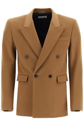 New Saint Laurent Double-breasted Jacket 624998 Y3b45 Camel Vintage Authentic Nw