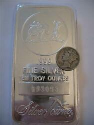 10 Troy Ounce .999 Pure Silver Prospector Mule Silvertowne Bar New + Gold