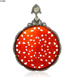 90.8ct Carved Agate Diamond Pendant 18k Gold 925 Silver Jewelry Gift