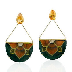 0.09ct Diamond And Citrine Pearl Hand Painted Earrings 18k Gold Jewelry Gift