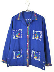 Old Clothes 70S Nation Native Embroidery Linen Guatemala Shirt L Bit $139.43