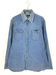 Old Clothes 70 80S Made In Usa Wrangler Engraved Button Denim Western Shirt L $181.72