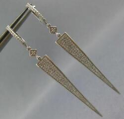 Large .70ct Diamond 14kt White Gold Elongated Pave Triangular Hanging Earrings