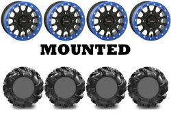 Kit 4 High Lifter Outlaw2 32.5x10.5-14 On Sb-5 Beadlock Matte Black Blue Can