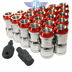 Red 20pcs 12x1.5mm Extended Dust Cap Steel Wheel Lug Nuts With Lock Key