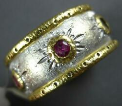 Wide 1ct Aaa Ruby 18kt 2 Tone Gold Matte And Shiny Sunburst Filigree Eternity Ring