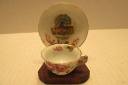 Vintage Coney Island Ny Mini Cup And Saucer With Wooden Stand   Made In Japan Fw