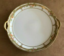 Antique Nippon Hand Painted Gold Trim Double Handled Platter Plate Serving Cake