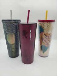 3 Starbucks 2020 Tumbler Black Studded Plum Rose Stainless Steel Cold Cup 24oz