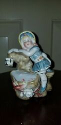 Antique Porcelain Conta And Boehme Girl At Water Rock W/ Bucket Toothpick Holder