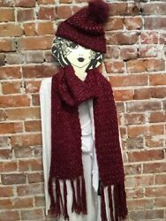Steve Madden Red Knit Boyfriend Scarf And Hat New Tailgate Winter Redskins