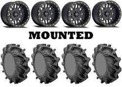 Kit 4 High Lifter Outlaw 3 Tires 28x9-14 On Method 406 Beadlock Matte Black Can
