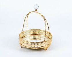 Gold Decorative Vanity Mirror Tray w Crystal Handle for Perfume Jewelry Makeup